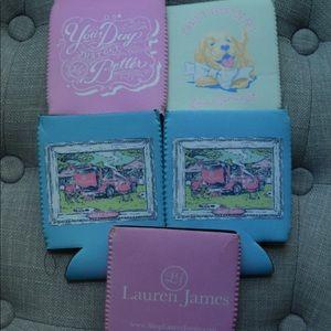 Set of 5 Lauren James koozies, preppy